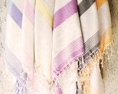 Turkish Bath Towel,Peshtemal, beach towel, hammam towel, Spa Towel-Squama design -Type1:Pastel violet striped-Cream Linen