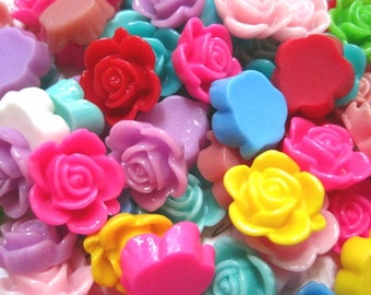 Resin Flower Cabochons 12 pc Mixed Lot 15mm Resin Dahlia Mum Cabochon ....Perfect for Rings, Bobby Pins and more