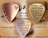 Personalized Guitar Pick/ 35 letters or less/ Engraved Guitar Pick/ Hand Stamped Guitar Pick