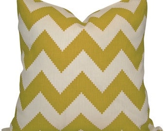 Chartreuse Green Chevron Pillow Cover from Designer Jonathan Adler - Lumbar and Square Sizes