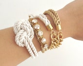 Arm candy set - Half and Half (chunky chain) and Silk knot Bracelet - braided Bracelet Set, Knotted Jewelry, Bracelet Stack