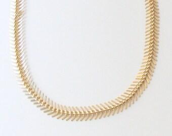 ON SALE: Statement necklace bib - Chunky Fish Bone - 24k gold plated