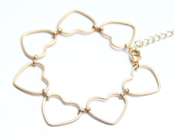 Gold Hearts chain Bracelet - 24k gold plated