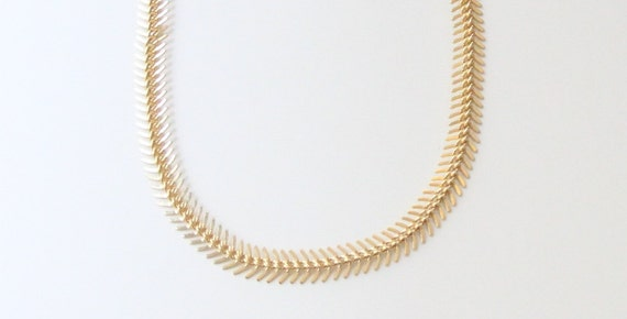 ON SALE: Statement necklace bib - Chunky Fish Bone - 24k gold plated