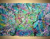 Tree Landscape Painting Giclee on Stretched Canvas SPRING CHERRY BLOSSOM 36x24 Acrylic Embellished Art by Luiza Vizoli