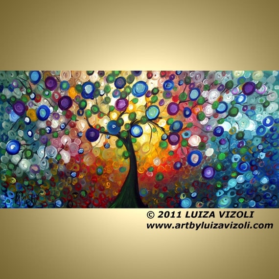 OLIVE TREE at Sunset Large Giclee on Stretched Canvas by Luiza Vizoli