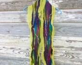 Neon Graffiti Nuno Scarf OOAK Bright Colors Yellow Purple Silk Hand Dyed