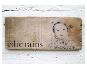 Rustic Baby Shower Gift. Personalized Wooden Plaque with Child's Photo. Baby Picture on Wood. Custom Made Nursery Gift. Initials.