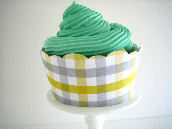 Grey and Yellow Cupcake Wrappers - Set of 12 - Gray & Yellow Plaid, Shabby Chic, Modern, Mod, Bridal Shower, Birthday, Wedding, Baby Shower