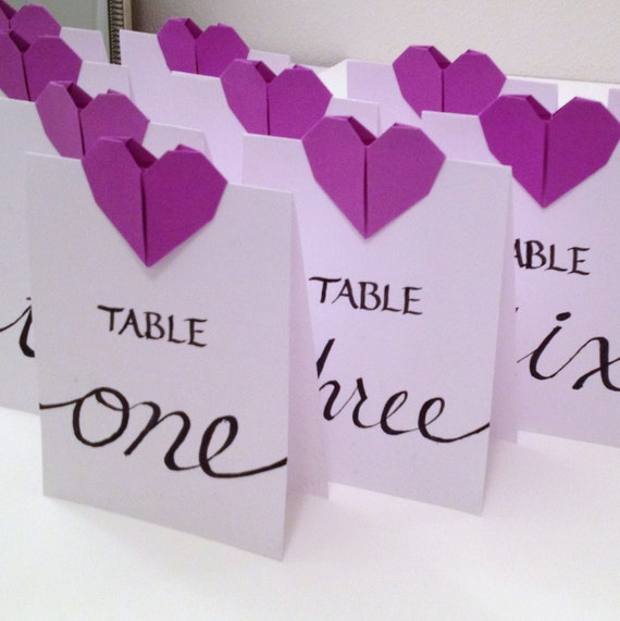Items similar to wedding table numbers origami hearts for Table 52 number