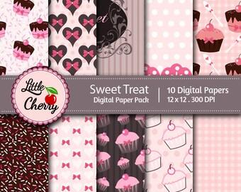 sweet treat- 10 printable Digital Scrapbooking papers - 12 x12 - 300 DPI