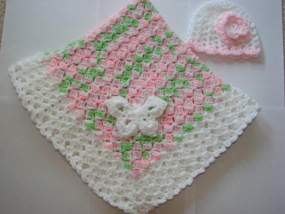 Baby girl crochet blanket hat set pink green white handmaded shower gift photo prop