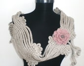 GREY Scarf. Long Scarf. Stone Crochet SCarf. Crochet Shrug. Hand made. Autumn scarf. PINK rose.