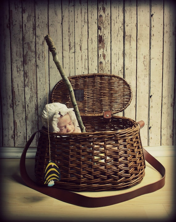"""Vintage Fishing Basket-Newborn Infant Photo Prop 40.5"""" around x 15""""wide at the bottom x 13""""wide at the top"""