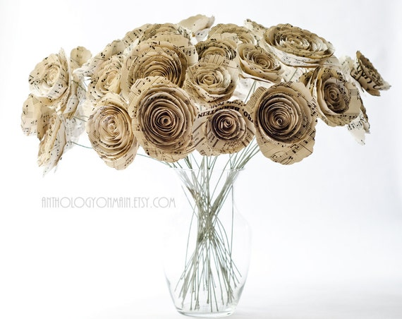 Vintage 1934 Sheet Music Bouquet - Ready to Ship - Song Book Long Stem Flowers - Large 40-Stem Paper Rose Bouquet