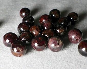 7mm - 8mm Dark Red Garnet Round Beads