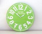 Vintage clock -New York- pseudo vintage birch clock hand painted  happy fresh apple green color