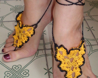 Barefoot sandals, Crochet, Nude Summer Shoes, Beach Foot Jewelry, Hippie Sandals yellow with black trim.