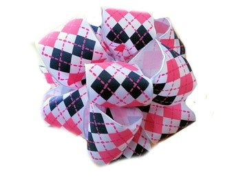 "1.5"" Pink and Black Argyle on White - Wired Printed Ribbon - 5 Yards"