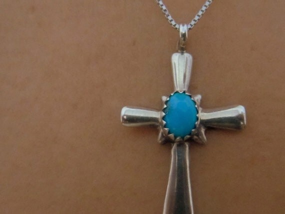 Vintage 1950s Sterling Silver Turquoise Cross Pendant On SS Chain