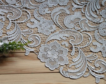 Silver Lace Fabric Crocheted Gowns Embroidered Flowers Hollowed Out Florals Wedding Bridal Lace Fabric Costume Lace Embroidery Lace Fabrics