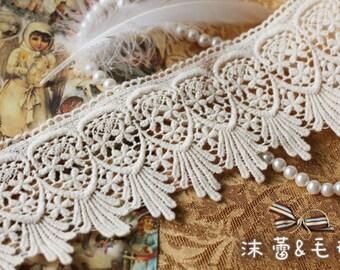 Lace Trim Cotton Lace Fabrics Retro Off White Florals Scallop Embroidery DIY Supplies Bridal Accessories Grace Style 4.33 inch wide