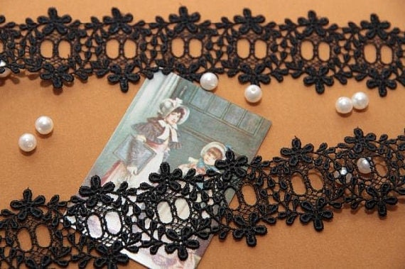 Black Vintage Style Cotton Lace Trim Embroidered Flowers Pattern