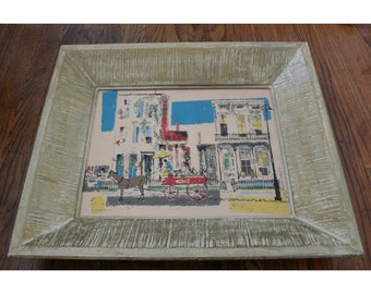 SALE Mid Century Framed B&B Serigraph by Ronald Julius Christensen - Two Old Homes, Louisville