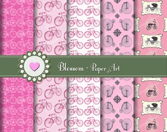 Pink Digital Paper Pink Digital Paper Pack, Bicycles, Scrapbook, Digital Scrapbooking Paper - Vintage - Blossom Paper Art - 1025