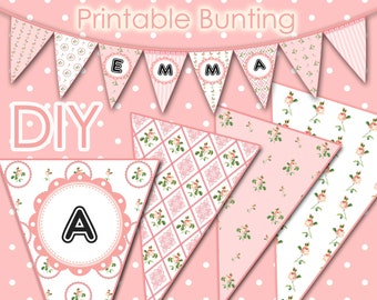 Printable Bunting - Vintage Pink Flowers - DIY - Printable - Parties - Weddings - Baby Showers - 1552