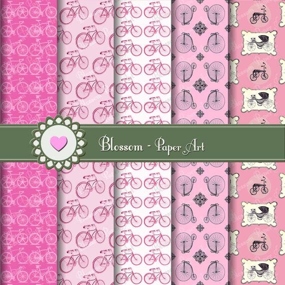 Papeles decorativos rosa papeles con bicicletas vintage - Papeles decorativos para imprimir ...