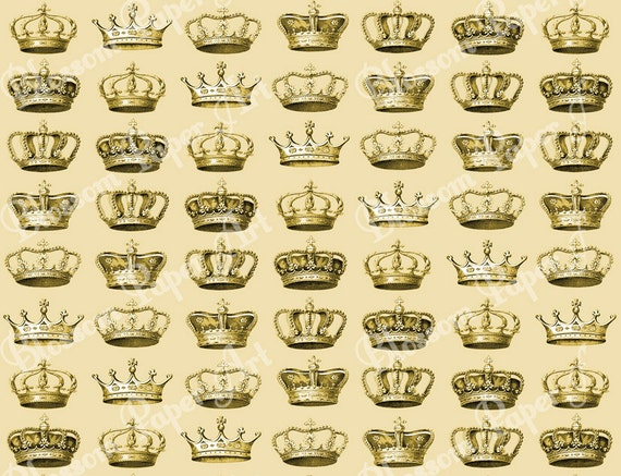 Gold Crowns Digital Scrapbooking Paper Vintage Scrapbook