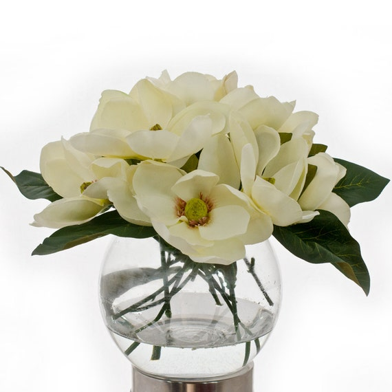 Silk White Magnolia Round Glass Vase Artificial Faux By Flovery