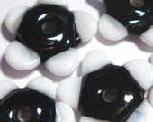 BLACK WHITE  FLOWER-  Handmade Glass Lampwork Beads - Cool Colors Tiny Shaped Flowers Set of 5