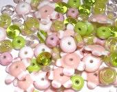 PINK GREEN White MIX - Handmade Glass Lampwork Beads - Pink Green White - Set of 20