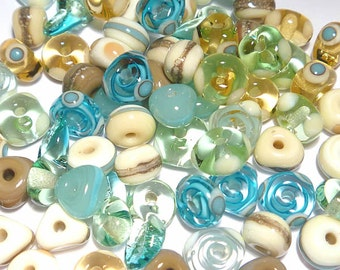 BEACH MIX - Handmade Glass Lampwork Beads - Blue Topaz Ivory Sea Green Turquoise - Set of 20