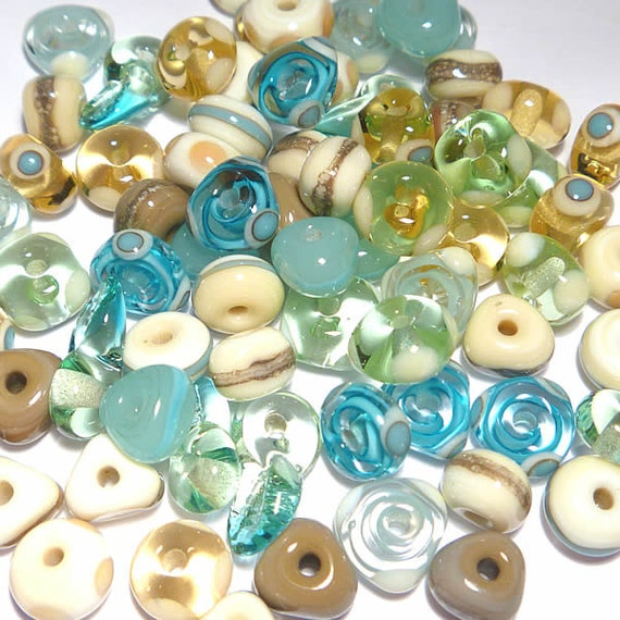 BEACH MIX - Handmade Glass Lampwork Beads - Blue Topaz Ivory Sea Green Turquoise - Set of 20