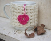 Cream and pink  Cup Cozy,  Coffee Cozy, Coffee Cup Sleeve, Tea Cup Cozy - Back to School