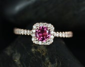 Mikena 5mm 14kt Rose Gold Tourmaline and Diamonds Cushion Halo Engagement Ring (Other metals and stone options available)