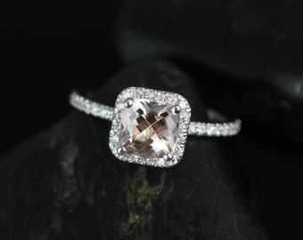Pernella 7mm 14kt White Gold Cushion Morganite and Diamonds Halo Engagement Ring (Other metals and stone options available)