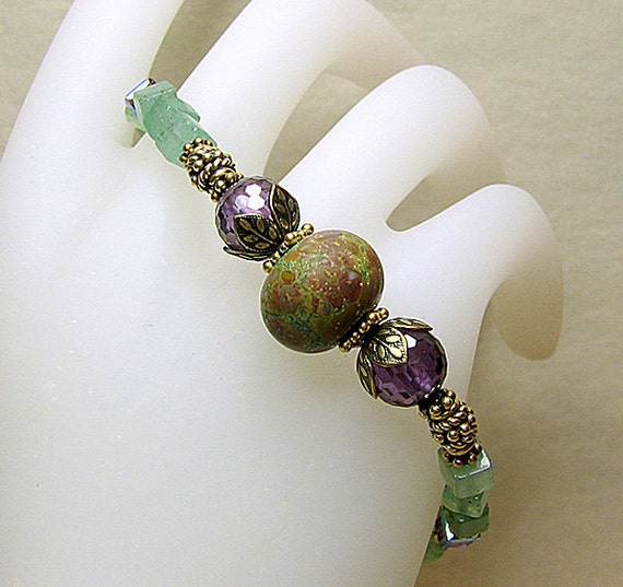 Lampwork bracelet Purple crystal beaded bracelet Green gemstone bracelet Antiqued gold Stackable bracelet  Gemstone beaded jewelry