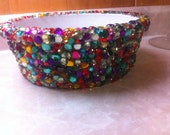 ON SALE  Multicolored Rhinestone Dog Bowl