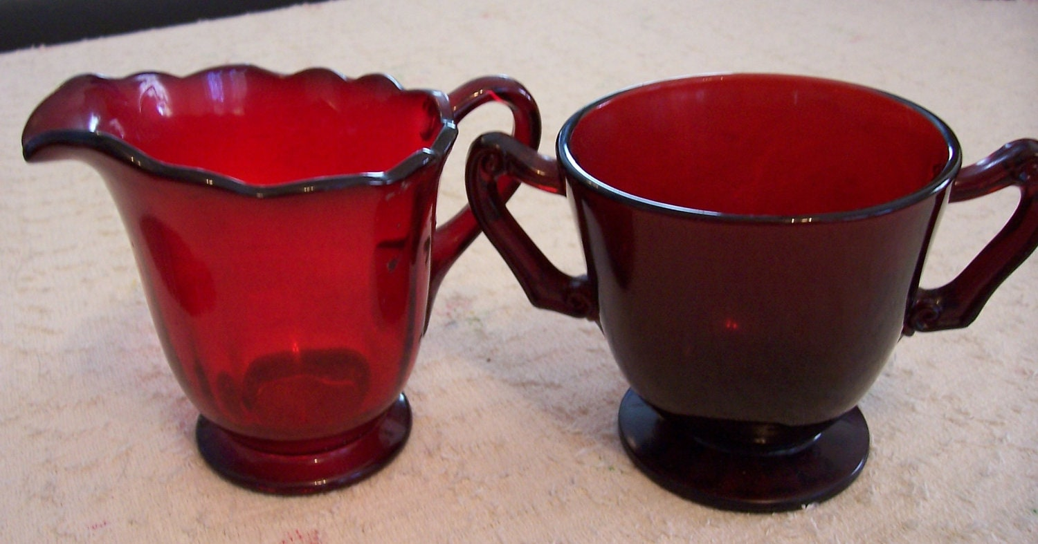 Vintage ROYAL RUBY RED Depression Glass Creamer Sugar