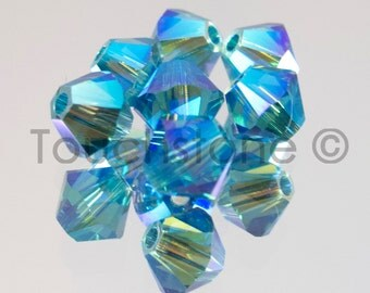 4mm Indicolite AB 2X Swarovski Crystal Bicone Beads 72 Beads #45-1136