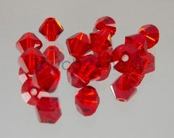 4mm Light Siam Swarovski Crystal Bicone Beads 72 Beads #45-1153