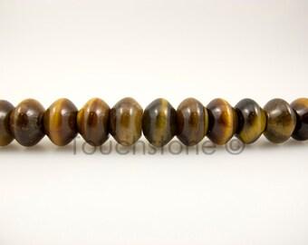 8mm Brown Tiger Eye Rondelle Beads - 1 Strand