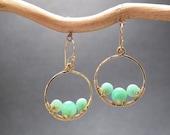 Hammered hoop earrings with green chrysoprase Bohemian 41