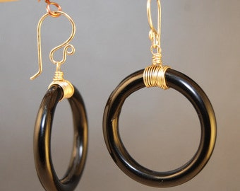 Black Onyx Circle Earrings Modglam 85