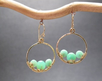 Hammered hoop earrings with green chrysoprase Bohemian 41