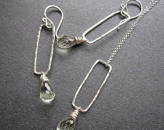 Hammered rectangle with green amethyst Necklace 227